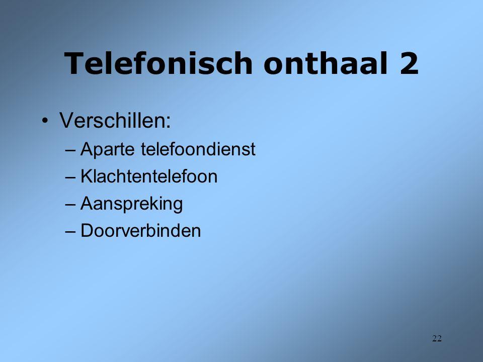 Telefonisch onthaal 2 Verschillen: Aparte telefoondienst