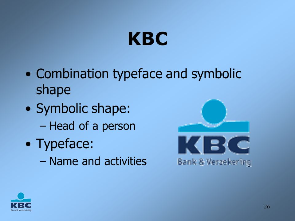 KBC Combination typeface and symbolic shape Symbolic shape: Typeface: