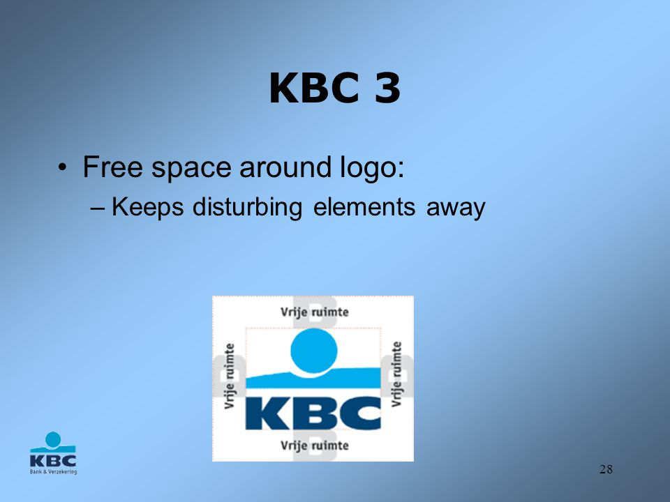 KBC 3 Free space around logo: Keeps disturbing elements away