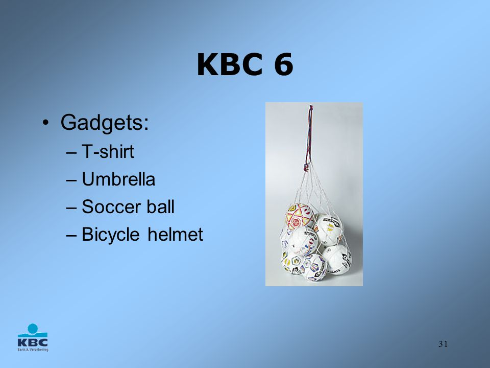 KBC 6 Gadgets: T-shirt Umbrella Soccer ball Bicycle helmet