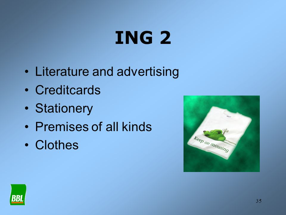 ING 2 Literature and advertising Creditcards Stationery