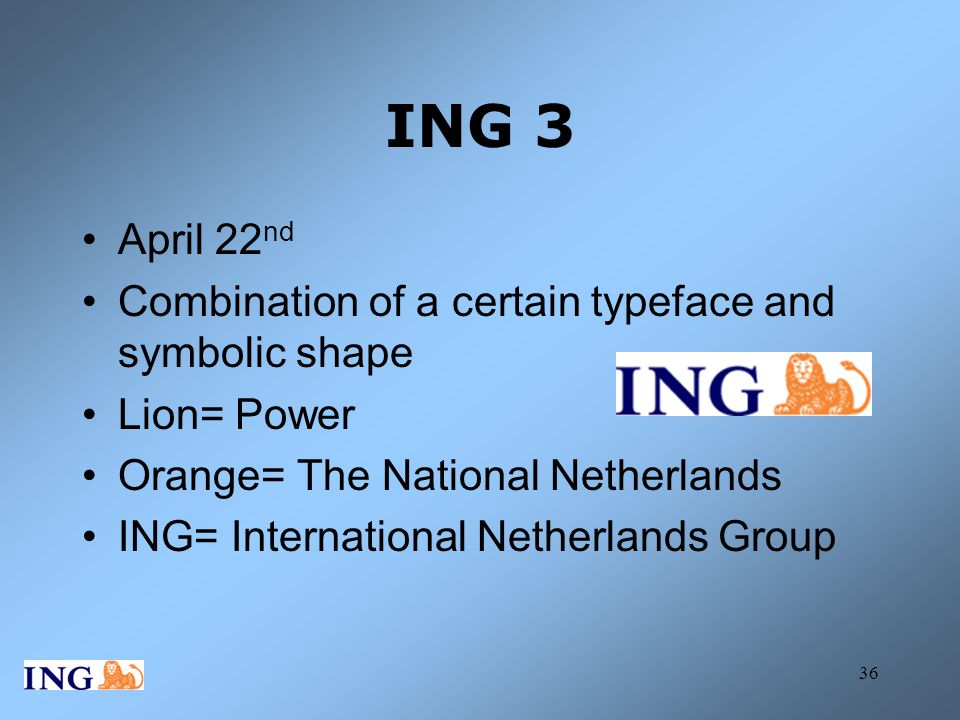 ING 3 April 22nd Combination of a certain typeface and symbolic shape