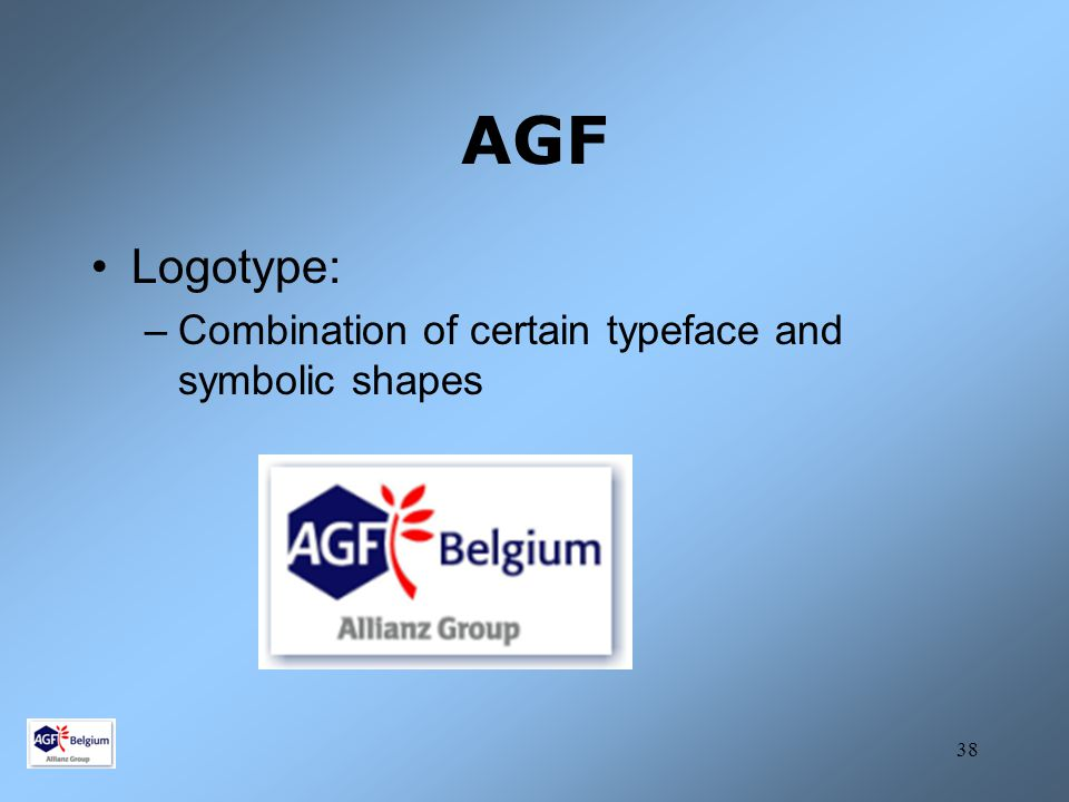 AGF Logotype: Combination of certain typeface and symbolic shapes