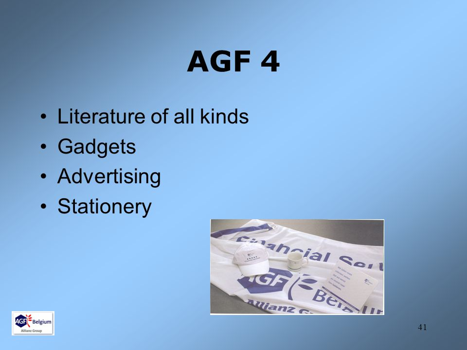 AGF 4 Literature of all kinds Gadgets Advertising Stationery