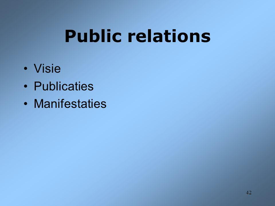 Public relations Visie Publicaties Manifestaties