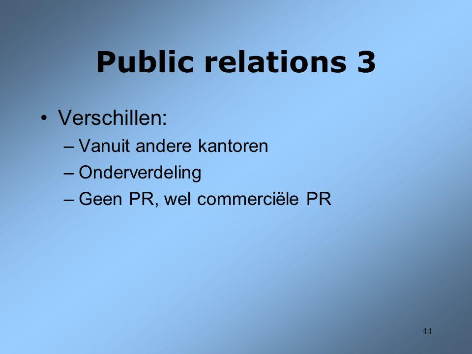 Public relations 3 Verschillen: Vanuit andere kantoren Onderverdeling