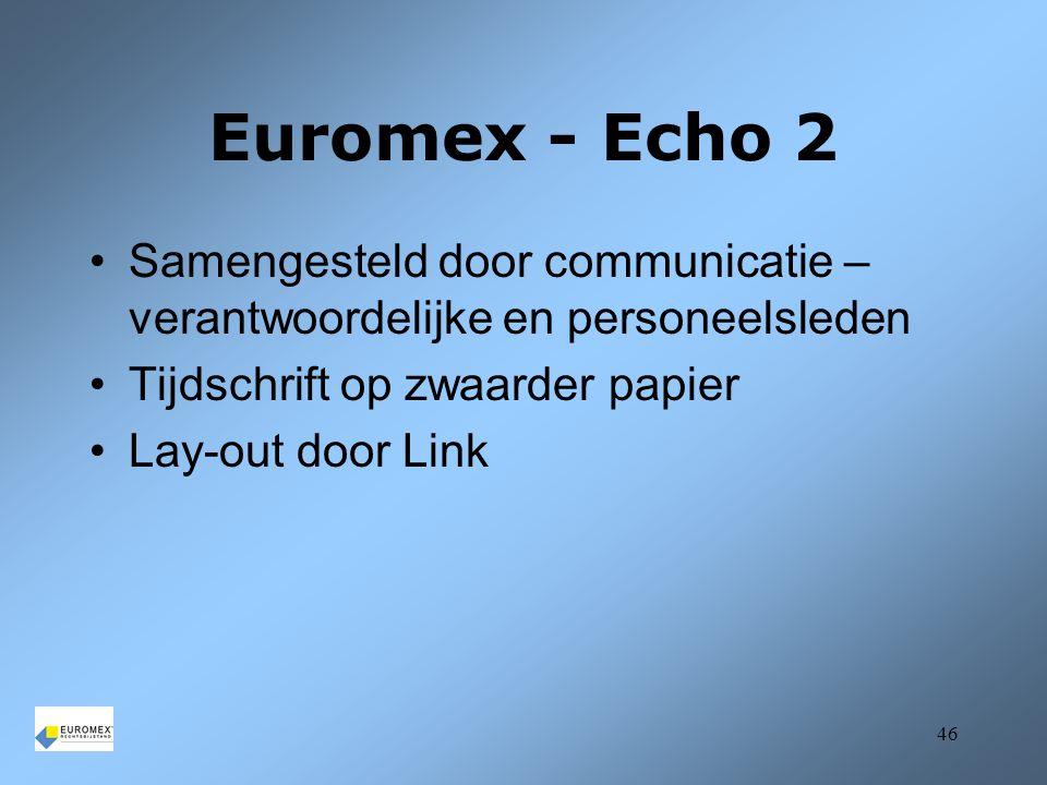 Euromex - Echo 2 Samengesteld door communicatie – verantwoordelijke en personeelsleden. Tijdschrift op zwaarder papier.