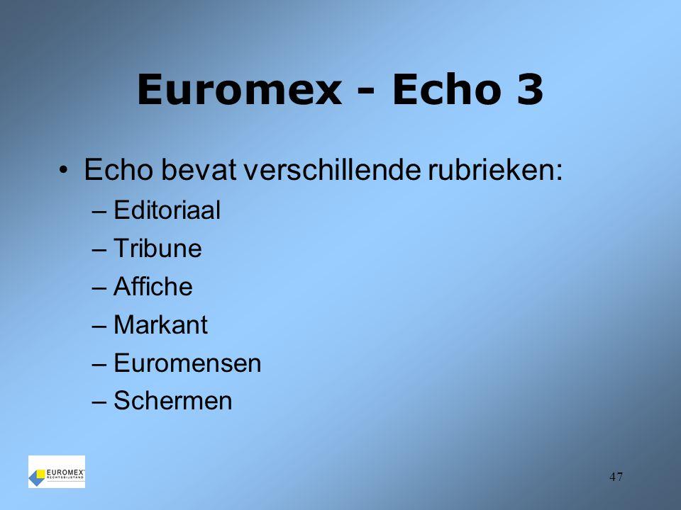 Euromex - Echo 3 Echo bevat verschillende rubrieken: Editoriaal