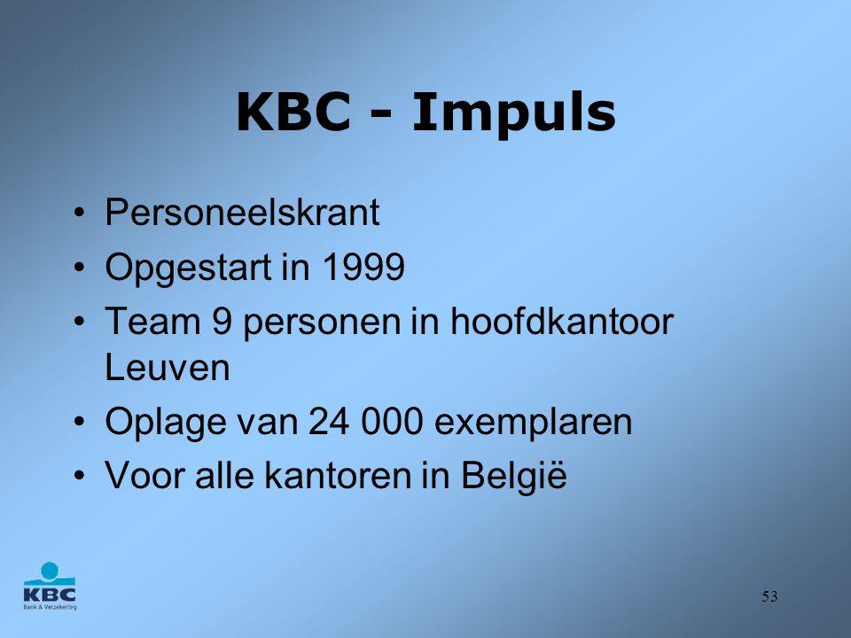 KBC - Impuls Personeelskrant Opgestart in 1999