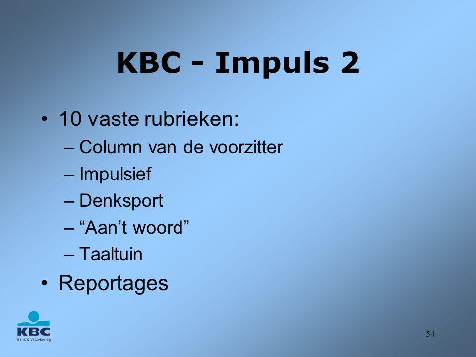 KBC - Impuls 2 10 vaste rubrieken: Reportages Column van de voorzitter