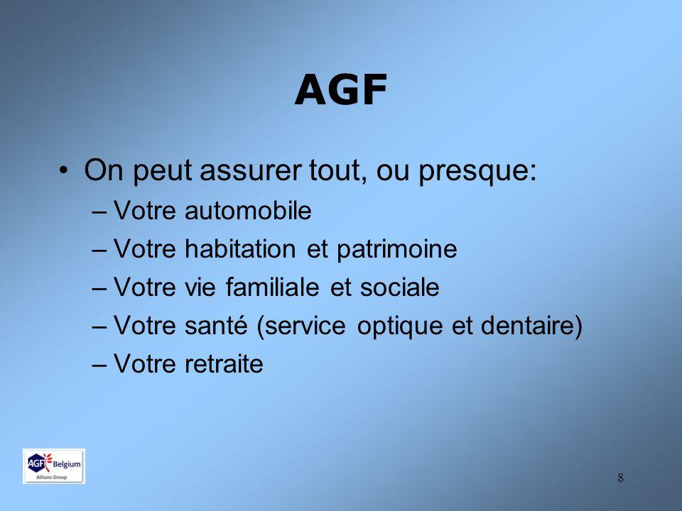 AGF On peut assurer tout, ou presque: Votre automobile