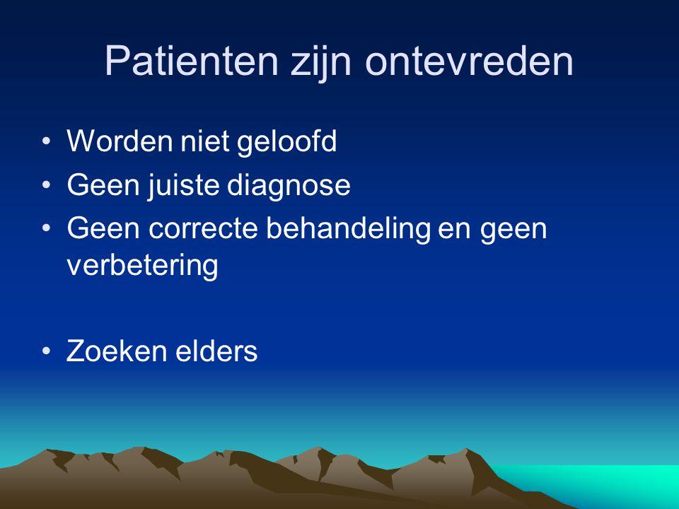 Patienten zijn ontevreden