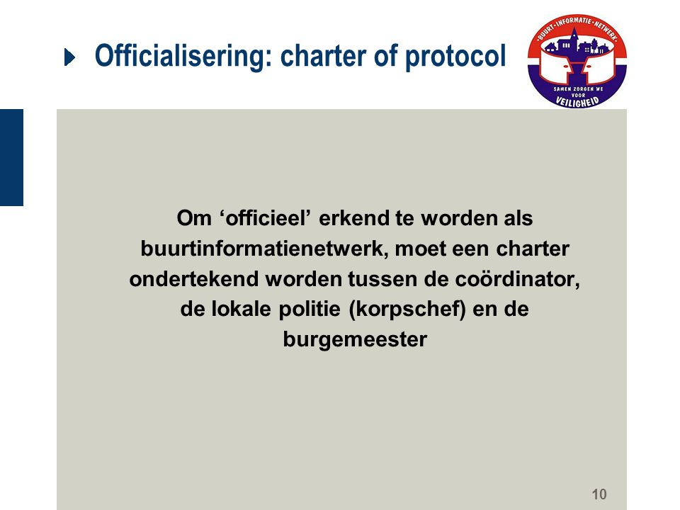 Officialisering: charter of protocol
