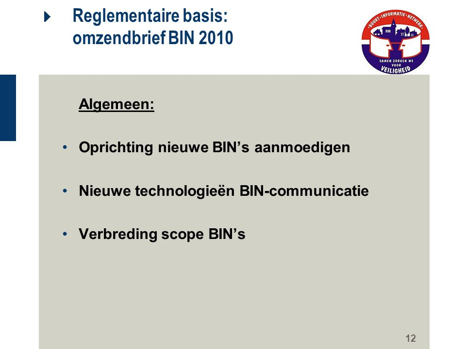 Reglementaire basis: omzendbrief BIN 2010