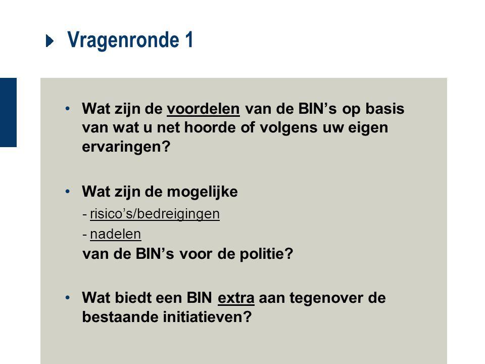 Vragenronde 1 Wat zijn de voordelen van de BIN's op basis van wat u net hoorde of volgens uw eigen ervaringen