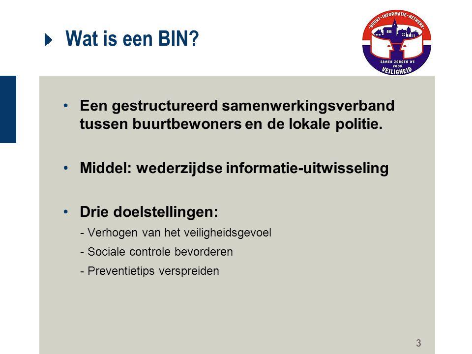 Wat is een BIN Een gestructureerd samenwerkingsverband tussen buurtbewoners en de lokale politie. Middel: wederzijdse informatie-uitwisseling.