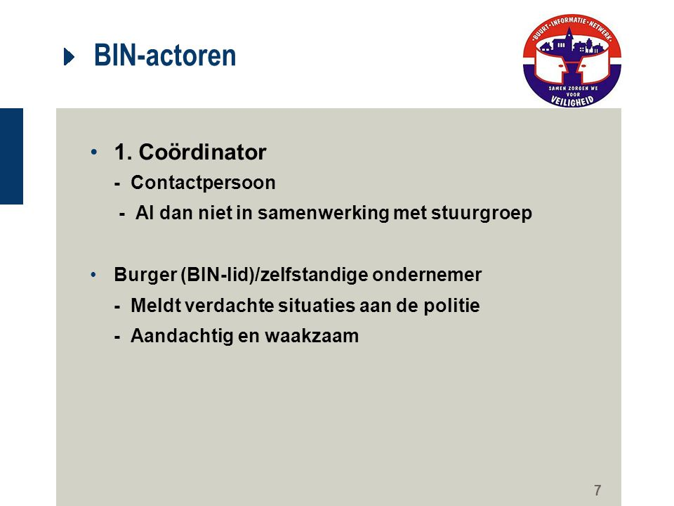 BIN-actoren 1. Coördinator - Contactpersoon