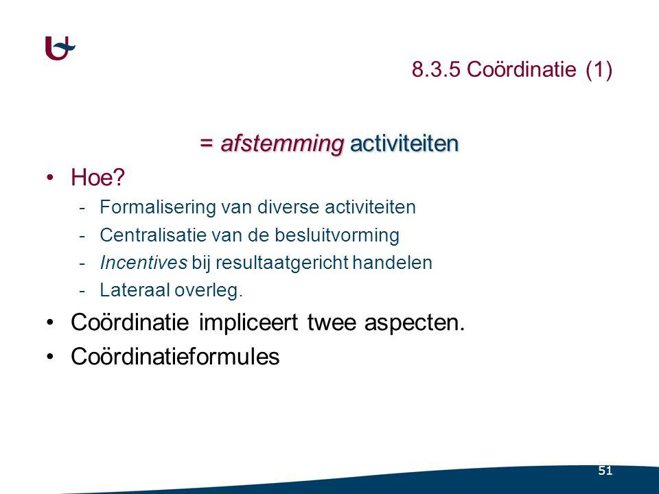 8.3.5 Coördinatie (2) Hoe Coördinatie impliceert twee aspecten.