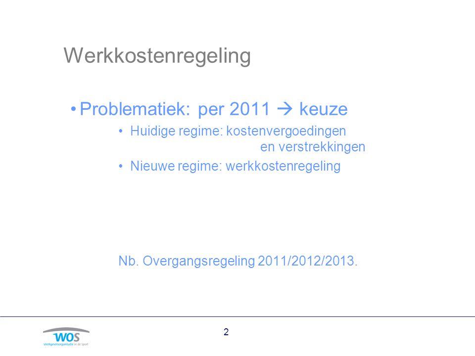 Werkkostenregeling Problematiek: per 2011  keuze