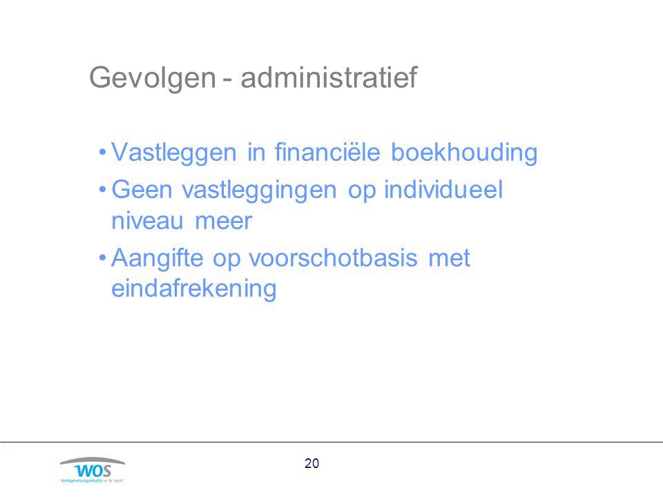 Gevolgen - administratief