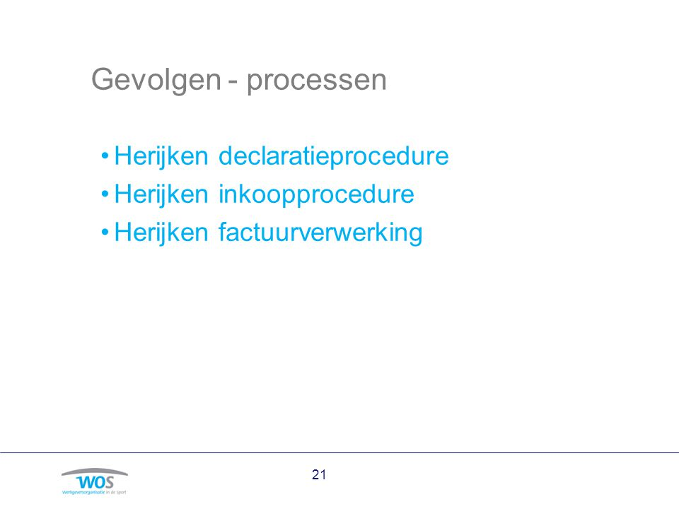 Gevolgen - processen Herijken declaratieprocedure