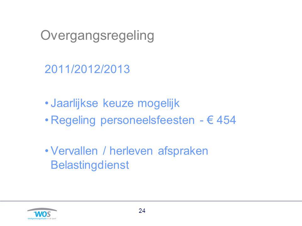 Overgangsregeling 2011/2012/2013 Jaarlijkse keuze mogelijk