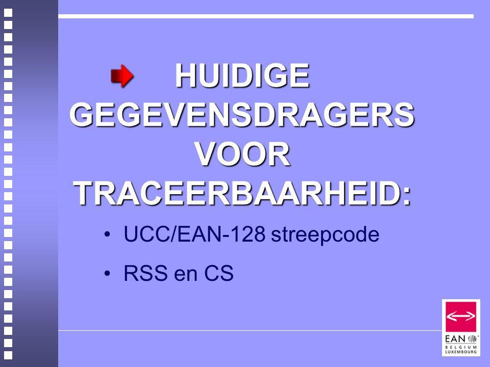 HUIDIGE GEGEVENSDRAGERS VOOR TRACEERBAARHEID: