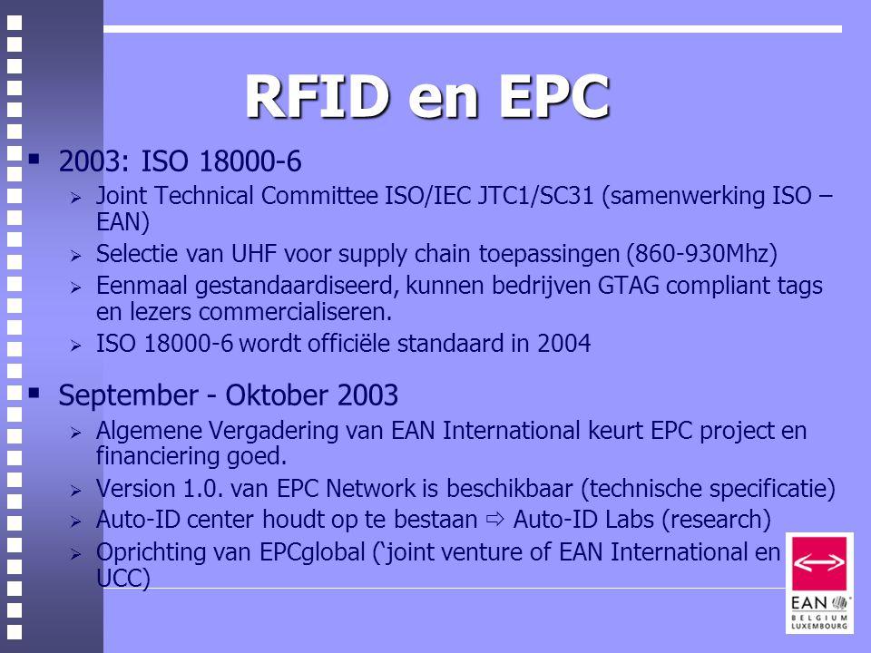 RFID en EPC 2003: ISO 18000-6 September - Oktober 2003