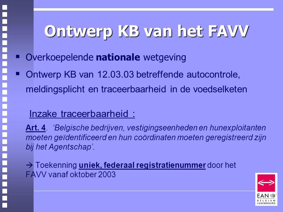 Ontwerp KB van het FAVV Inzake traceerbaarheid :
