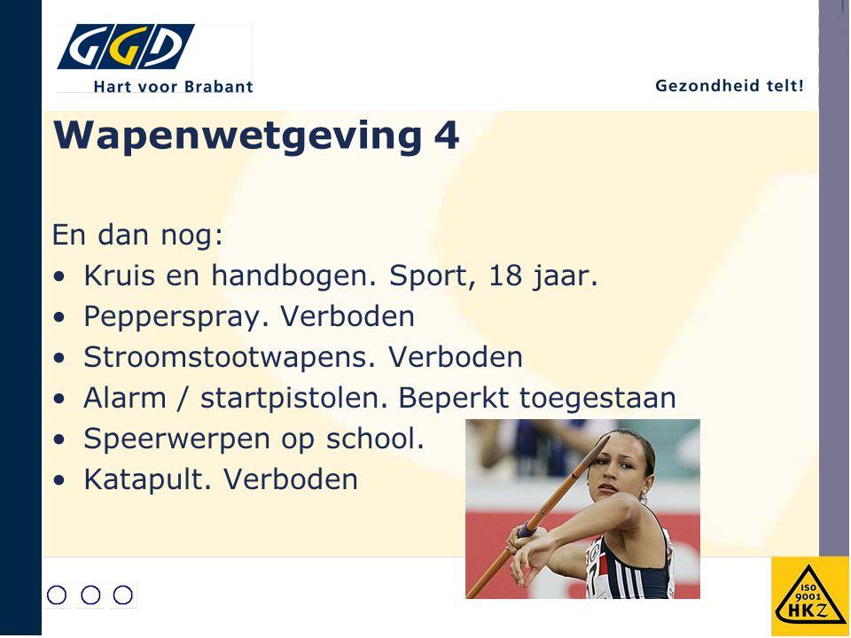 Wapenwetgeving 4 En dan nog: Kruis en handbogen. Sport, 18 jaar.