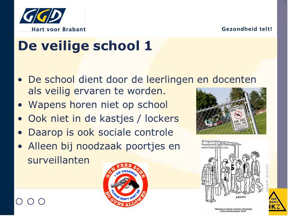 De veilige school 1 De school dient door de leerlingen en docenten als veilig ervaren te worden. Wapens horen niet op school.