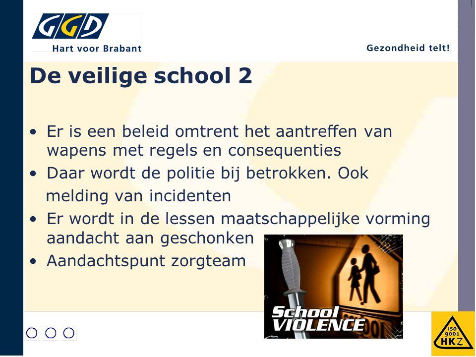 De veilige school 2 Er is een beleid omtrent het aantreffen van wapens met regels en consequenties.