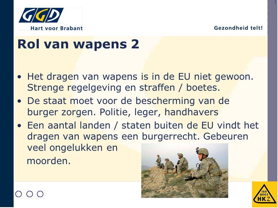 Rol van wapens 2 Het dragen van wapens is in de EU niet gewoon. Strenge regelgeving en straffen / boetes.