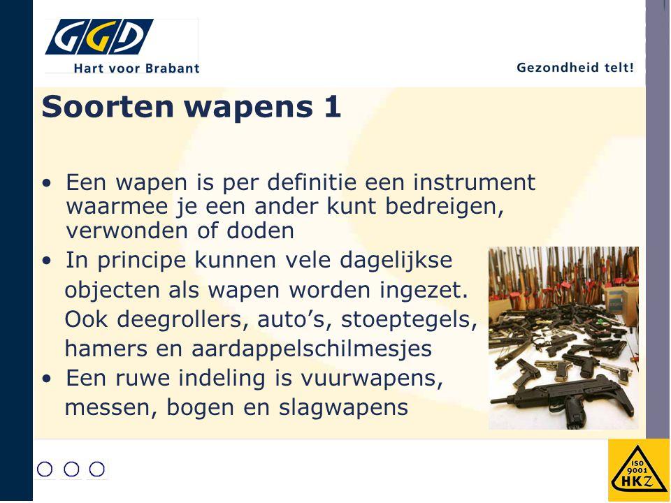 Soorten wapens 1 Een wapen is per definitie een instrument waarmee je een ander kunt bedreigen, verwonden of doden.