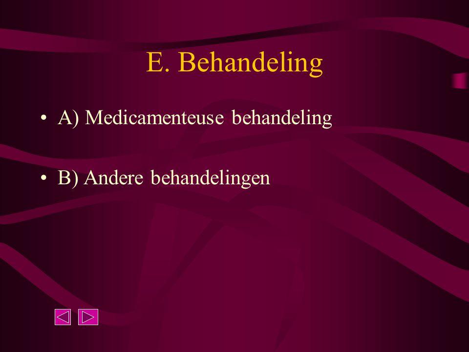 E. Behandeling A) Medicamenteuse behandeling B) Andere behandelingen