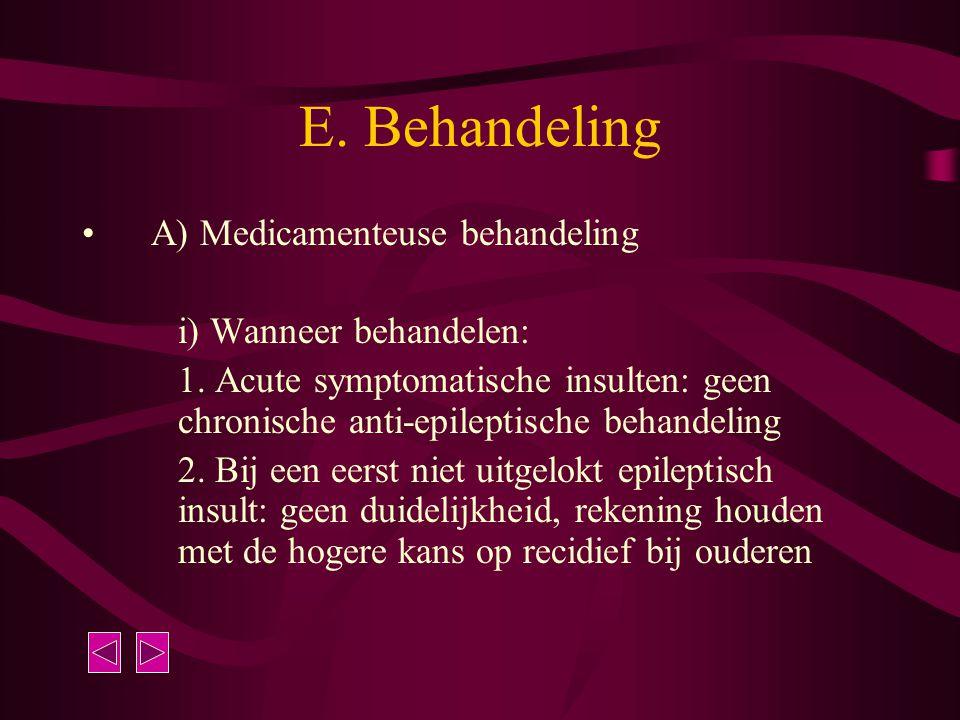 E. Behandeling A) Medicamenteuse behandeling i) Wanneer behandelen: