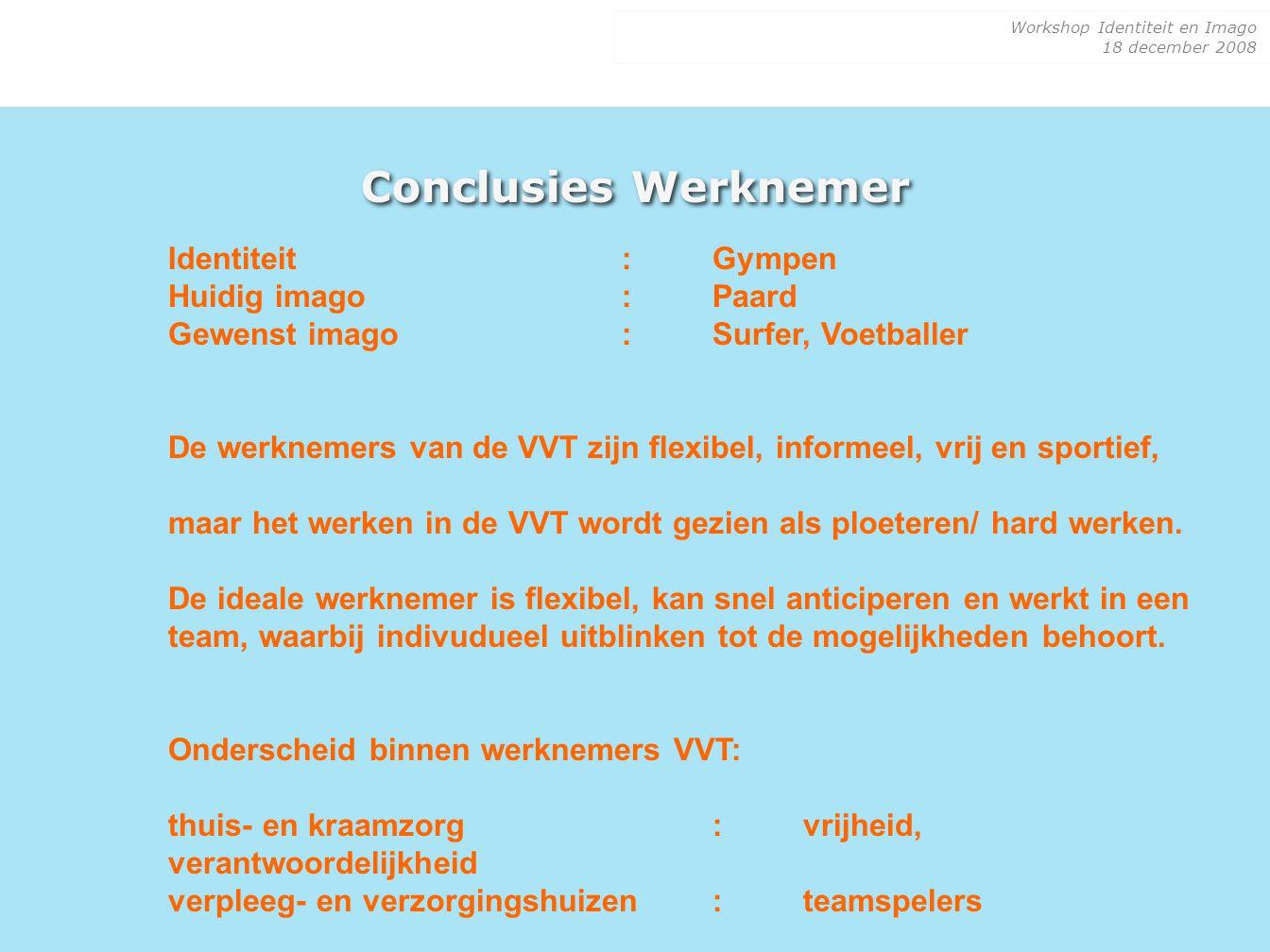 Conclusies Werknemer Identiteit : Gympen Huidig imago : Paard