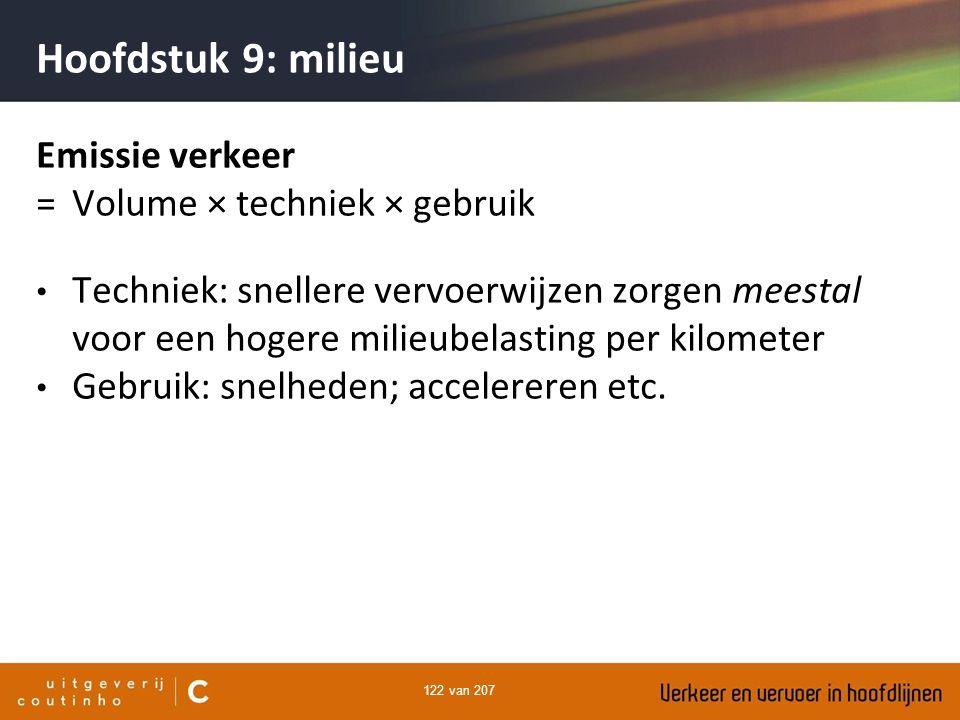 Hoofdstuk 9: milieu Emissie verkeer = Volume × techniek × gebruik