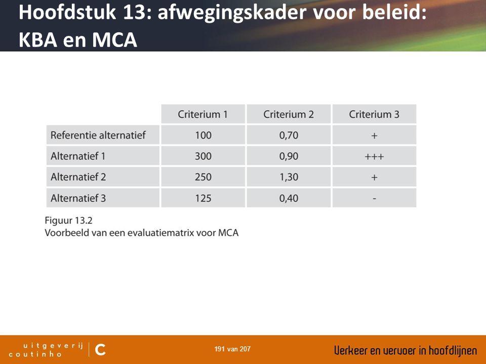 Hoofdstuk 13: afwegingskader voor beleid: KBA en MCA