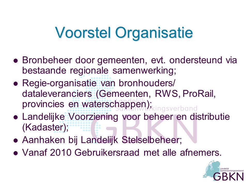 Voorstel Organisatie Bronbeheer door gemeenten, evt. ondersteund via bestaande regionale samenwerking;