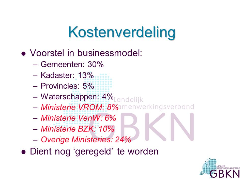 Kostenverdeling Voorstel in businessmodel: