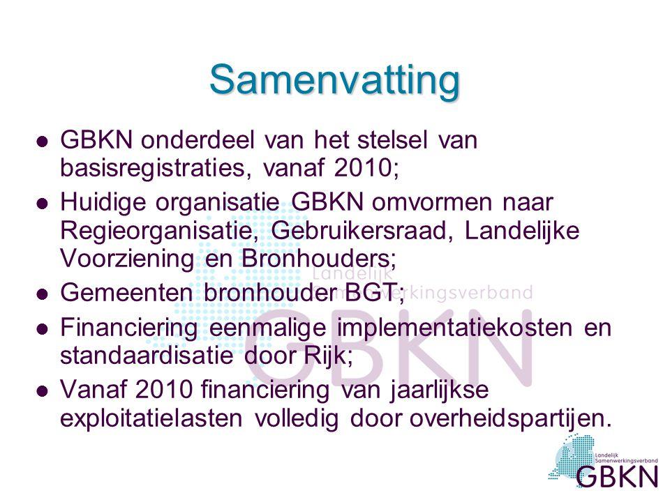 Samenvatting GBKN onderdeel van het stelsel van basisregistraties, vanaf 2010;