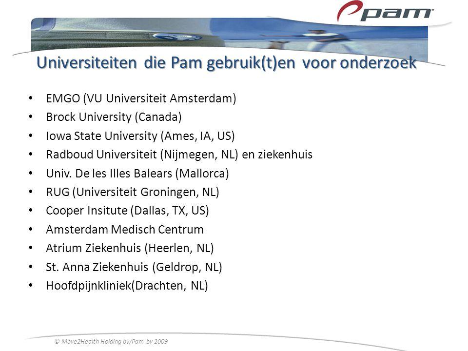Universiteiten die Pam gebruik(t)en voor onderzoek
