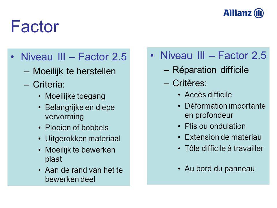 Factor Niveau III – Factor 2.5 Niveau III – Factor 2.5