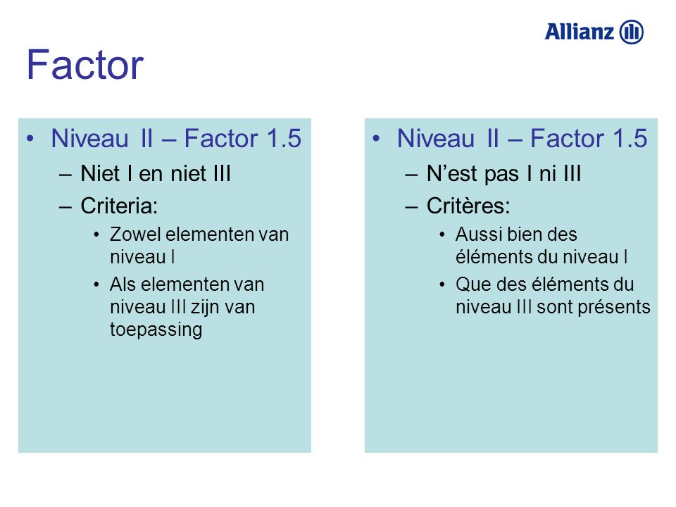 Factor Niveau II – Factor 1.5 Niveau II – Factor 1.5