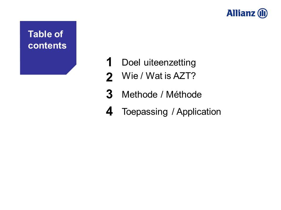 1 2 3 4 Doel uiteenzetting Table of contents Wie / Wat is AZT