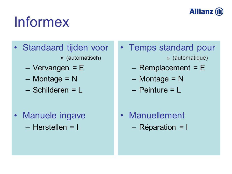Informex Standaard tijden voor Manuele ingave Temps standard pour