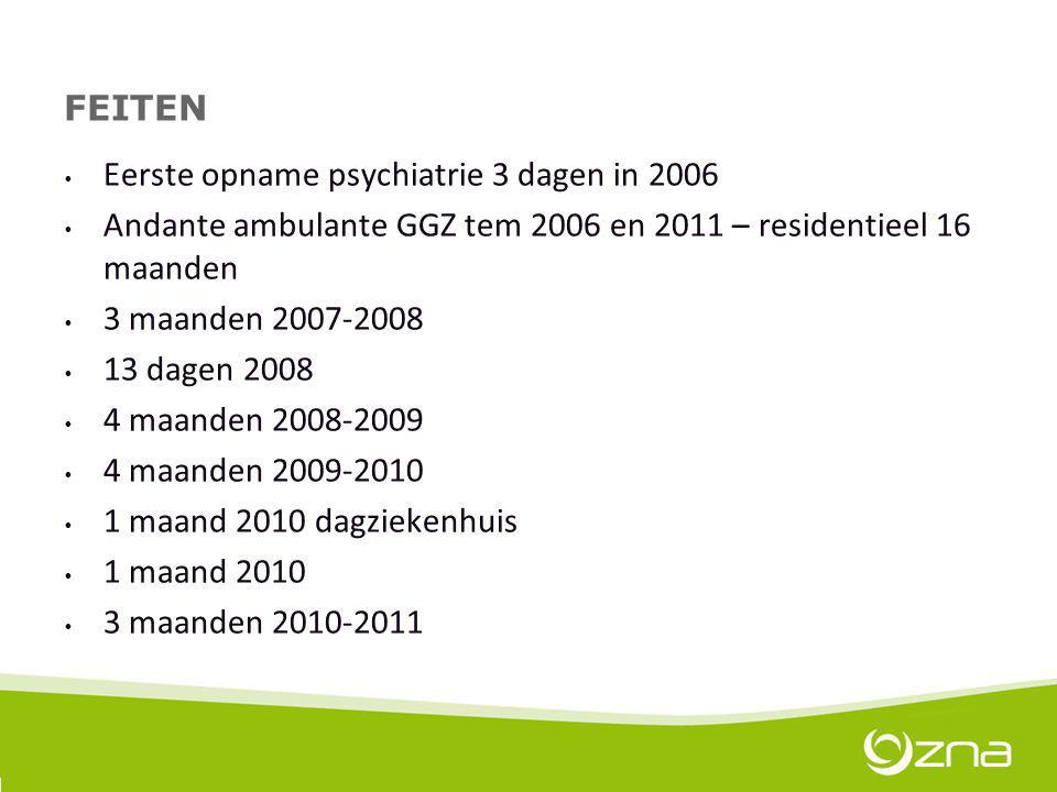 FEITEN Eerste opname psychiatrie 3 dagen in 2006. Andante ambulante GGZ tem 2006 en 2011 – residentieel 16 maanden.