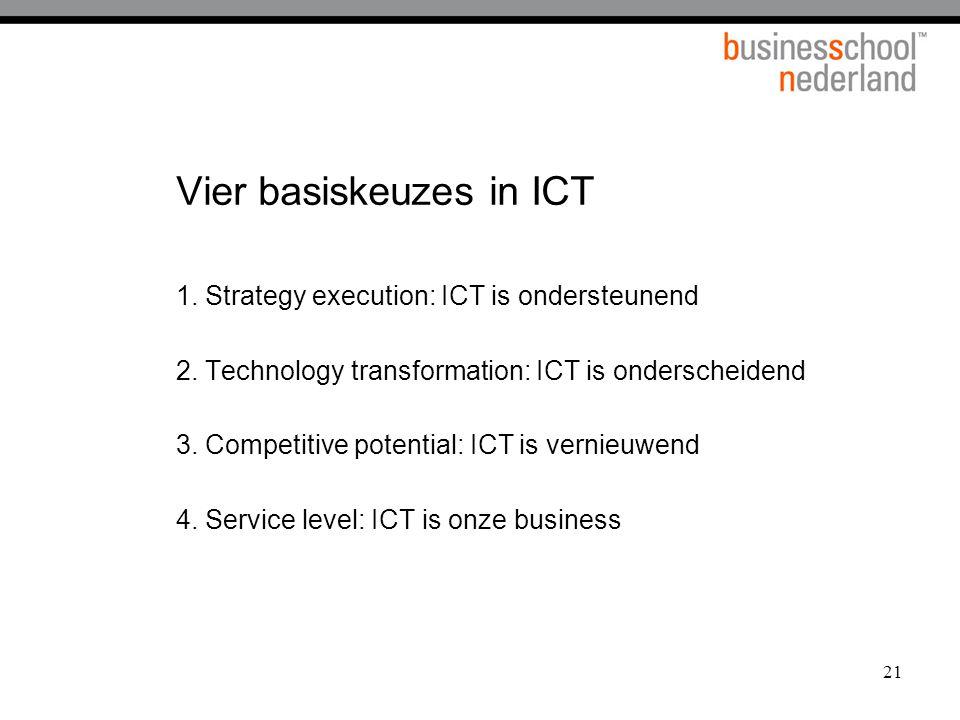 Vier basiskeuzes in ICT