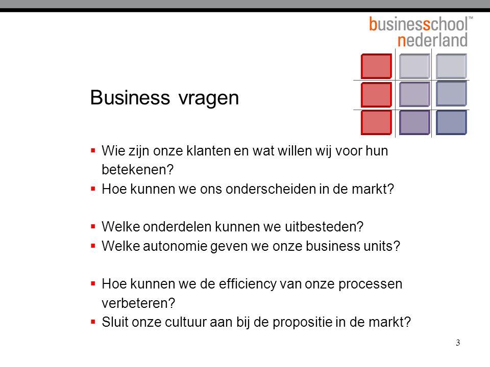 Business vragen Wie zijn onze klanten en wat willen wij voor hun betekenen Hoe kunnen we ons onderscheiden in de markt